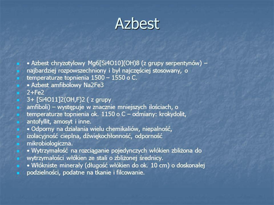 Azbest • Azbest chryzotylowy Mg6[Si4O10](OH)8 (z grupy serpentynów) –
